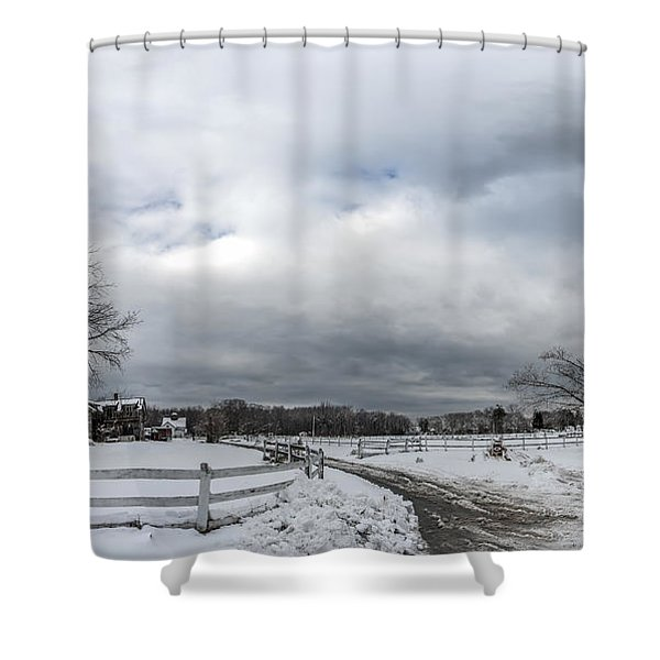 Snow Covered Maryland Stable In Winter Shower Curtain