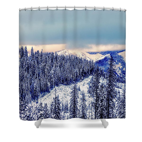 Shower Curtain featuring the photograph Snow Covered Mountains by Lester Plank