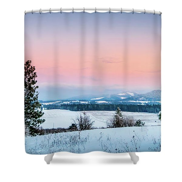 Shower Curtain featuring the photograph Snow Covered Valley by Lester Plank