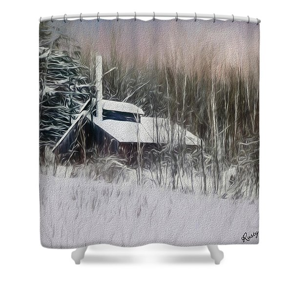 Snow Covered Vermont Sugar Shack.  Shower Curtain