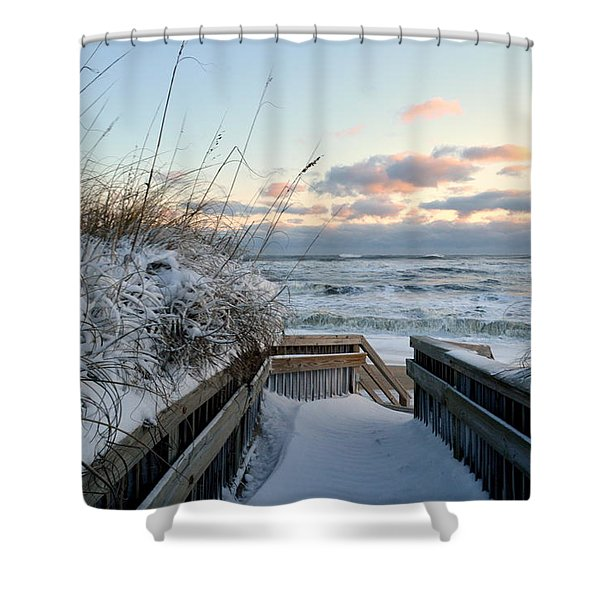 Snow Day At The Beach Shower Curtain