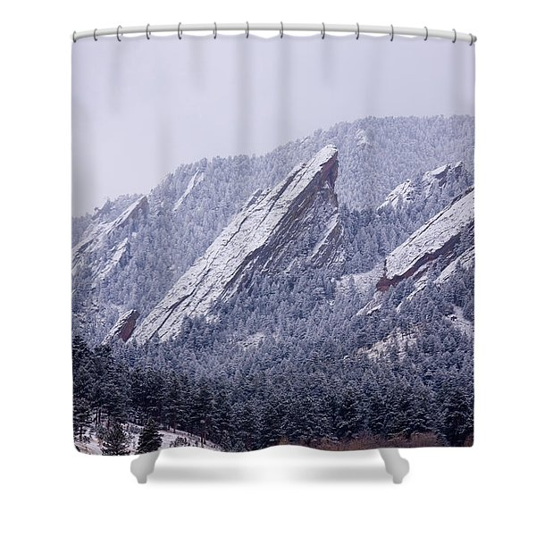 Snow Dusted Flatirons Boulder Colorado Shower Curtain