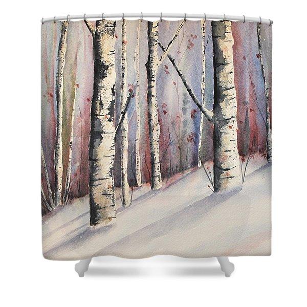 Snow In Birches Shower Curtain