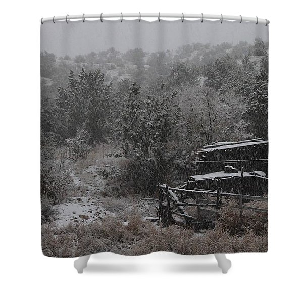 Snow In The Old Santa Fe Corral Shower Curtain