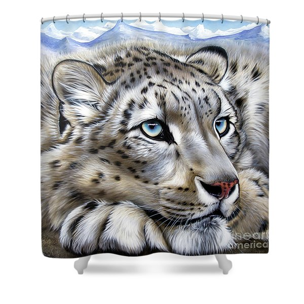 Shower Curtain featuring the painting Snow-leopard's Dream by Sandi Baker