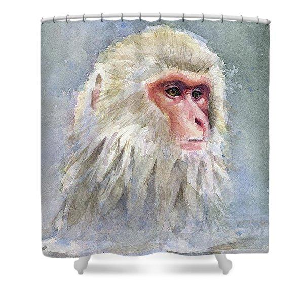 Snow Monkey Taking A Bath Shower Curtain