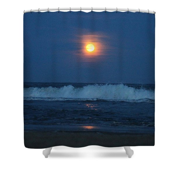Snow Moon Ocean Waves Shower Curtain