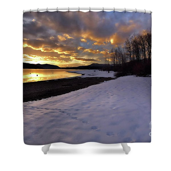 Snow On Beach Shower Curtain