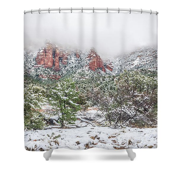 Snow On Red Rock Shower Curtain