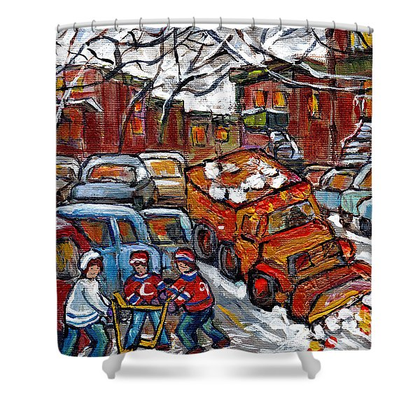 Snow Plow Winterscene Paintng For Sale Street Hockey Canadian Art For Sale C Spandau Montreal Artist Shower Curtain
