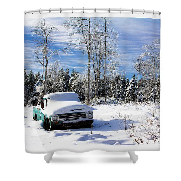 Snow Truck Shower Curtain