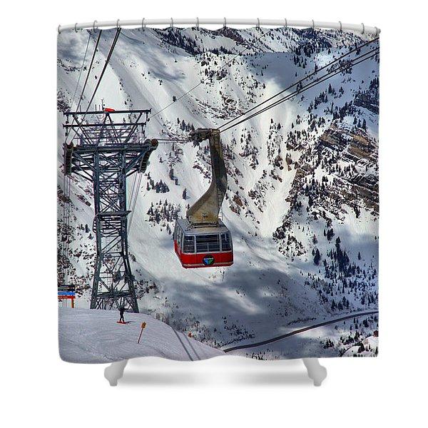 Snowbird Tram Portrait Shower Curtain