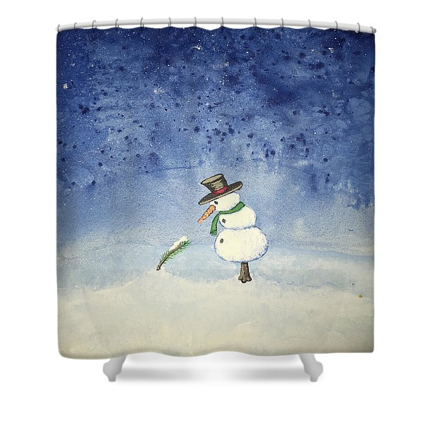 Shower Curtain featuring the painting Snowfall by Antonio Romero