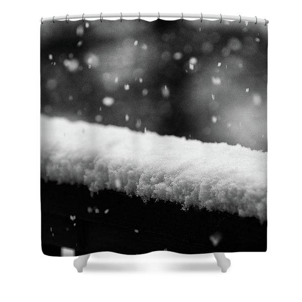 Shower Curtain featuring the photograph Snowfall On The Handrail by Jason Coward
