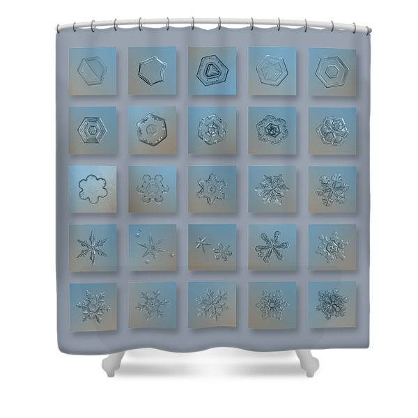 Snowflake Collage - Season 2013 Bright Crystals Shower Curtain