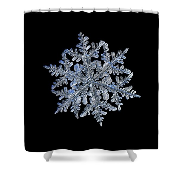 Snowflake Macro Photo - 13 February 2017 - 3 Black Shower Curtain