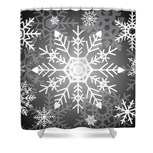 Snowflakes Black And White Shower Curtain