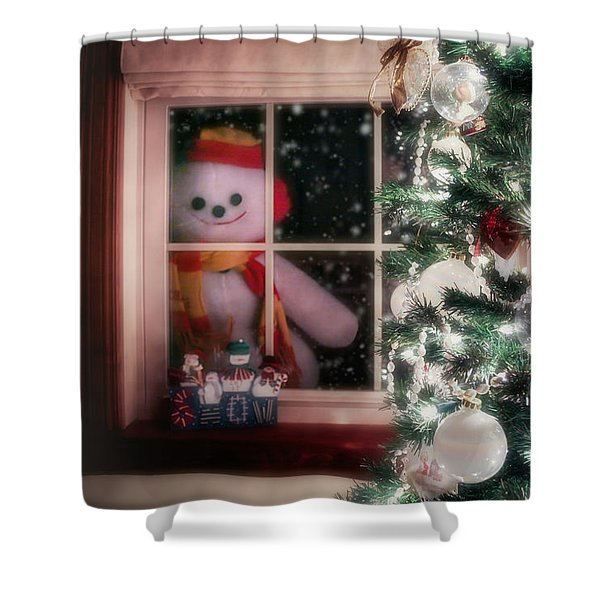 Snowman At The Window Shower Curtain