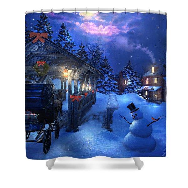 Snowman Crossing Shower Curtain