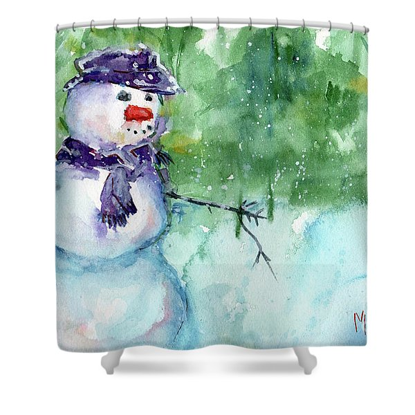 Snowman Watercolor Shower Curtain