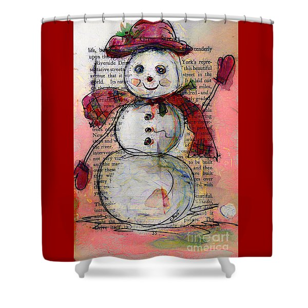 Snowman With Red Hat And Mistletoe Shower Curtain
