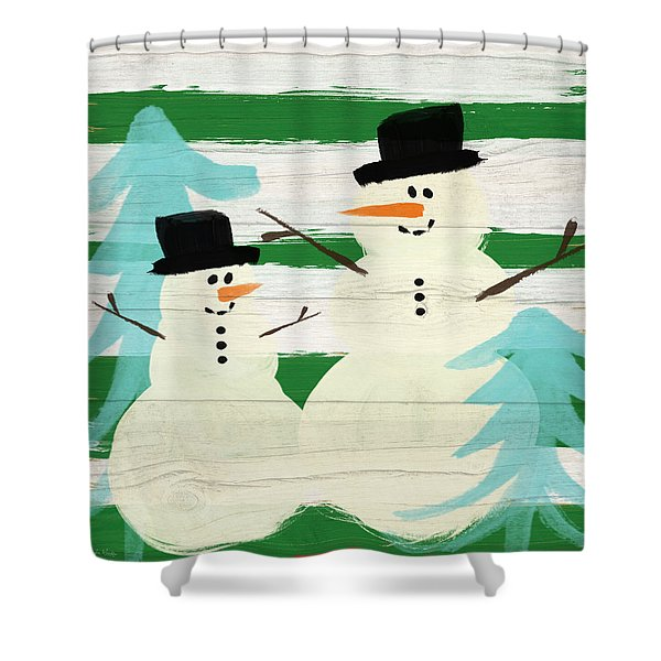 Snowmen With Blue Trees- Art By Linda Woods Shower Curtain
