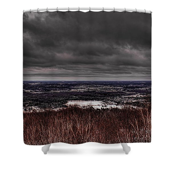 Snowstorm Clouds Over Rib Mountain State Park Shower Curtain