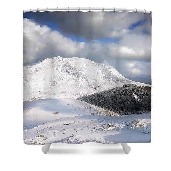 snowy Anboto from Urkiolamendi at winter Shower Curtain