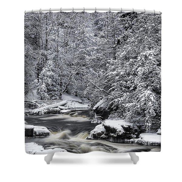 Snowy Blackwater Shower Curtain