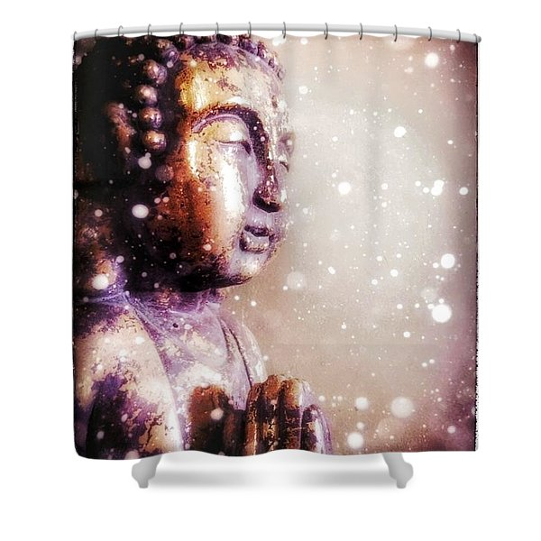Snowy Buddha Shower Curtain
