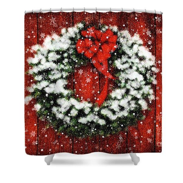 Snowy Christmas Wreath Shower Curtain