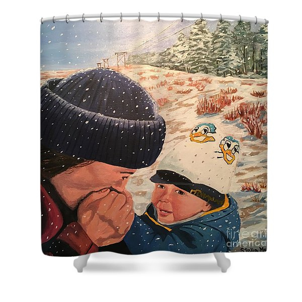 Snowy Day With My Dad Shower Curtain