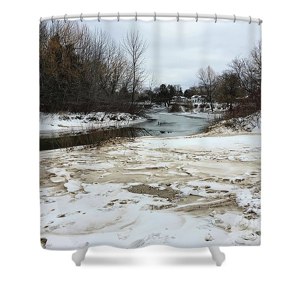 Snowy Elk Rapids River Shower Curtain