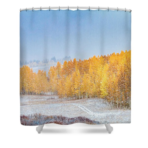 Snowy Fall Morning In Colorado Mountains Shower Curtain
