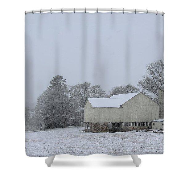 Winter White Farm Shower Curtain