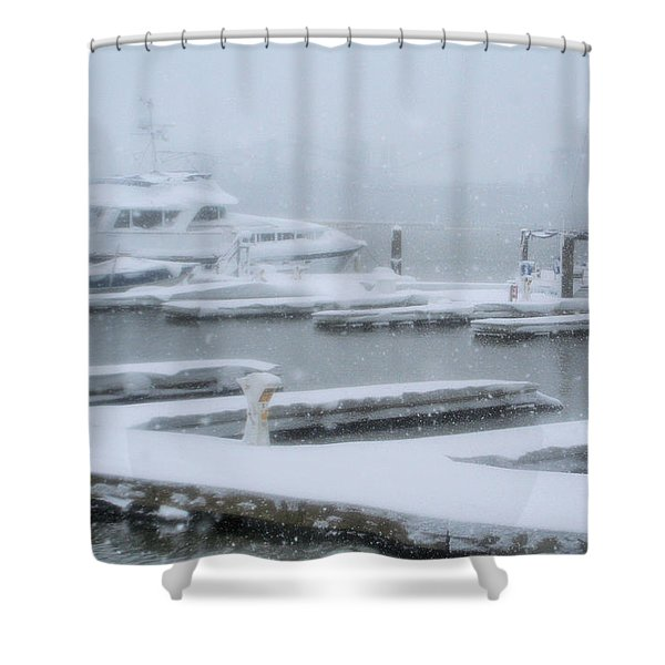 Snowy Harbor Shower Curtain