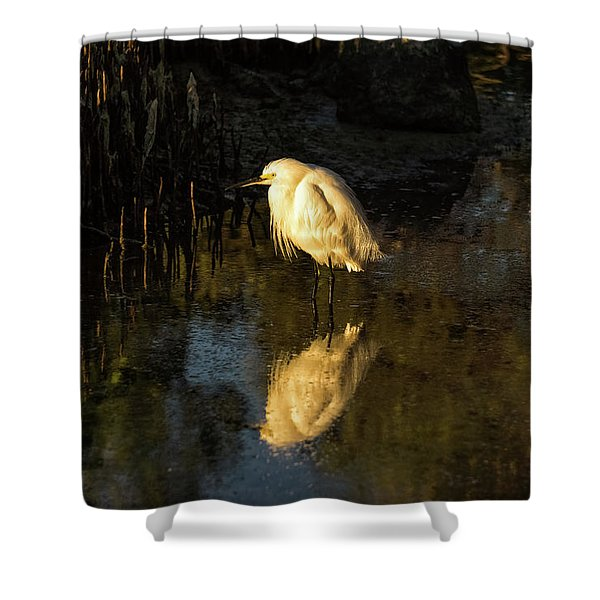 Snowy Kissed By Last Light Shower Curtain
