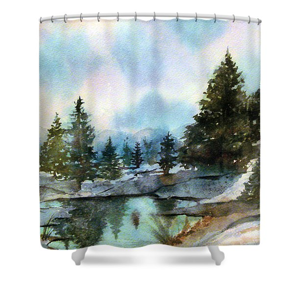 Snowy Lake Reflections Shower Curtain
