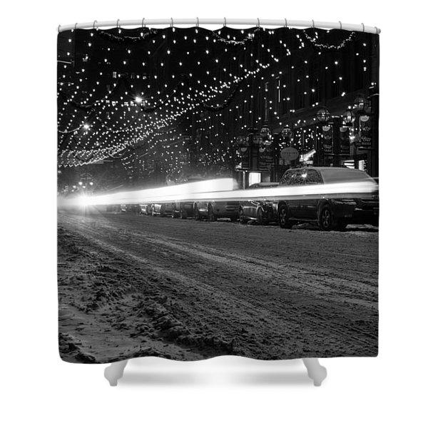 Snowy Night Light Trails Shower Curtain