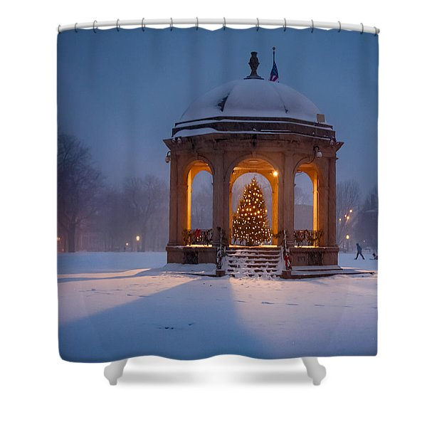 Snowy Night On The Salem Common Shower Curtain