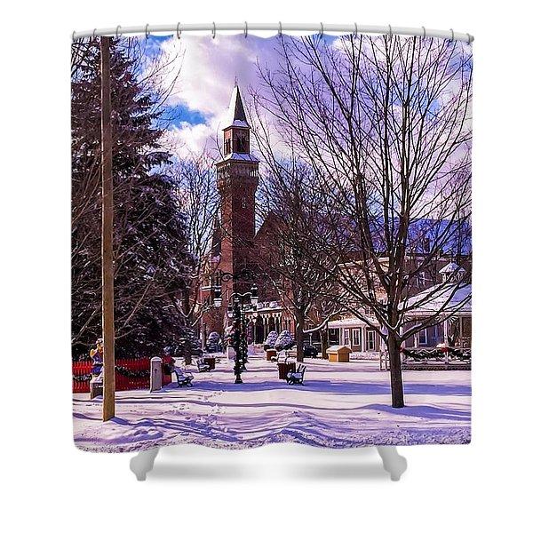 Shower Curtain featuring the photograph Snowy Old Town Hall by Sven Kielhorn