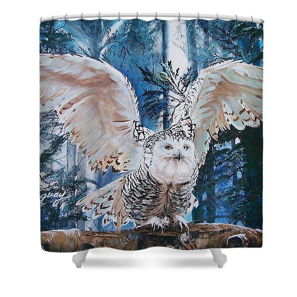 Snowy Owl On Takeoff  Shower Curtain