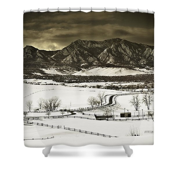 Snowy Sunset Shower Curtain