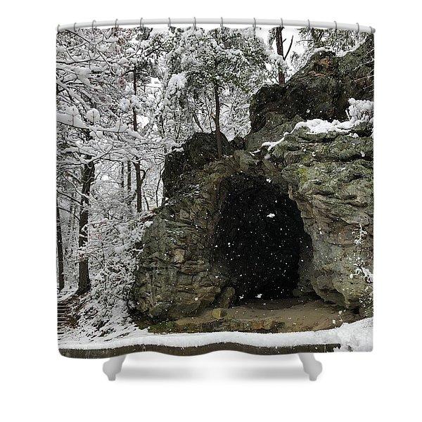 Snowy Torys Den Shower Curtain