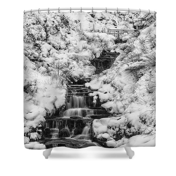 Snowy Waterfall In The Peak District In Derbyshire Shower Curtain