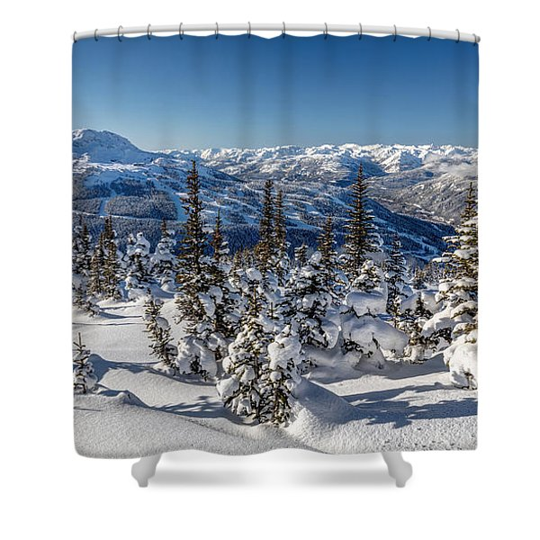 Snowy Whistler Mountain  Shower Curtain
