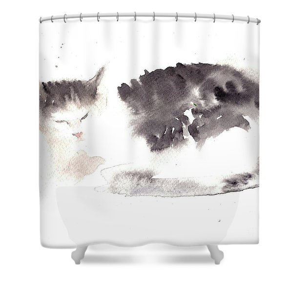 Snuggling Cat Shower Curtain