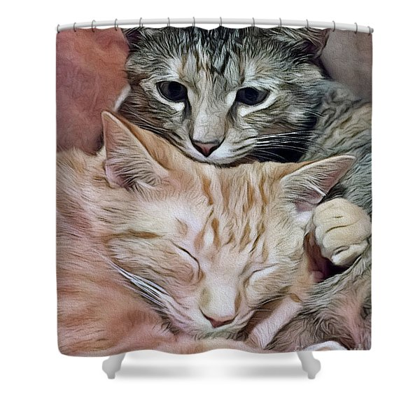 Snuggling Kittens Shower Curtain