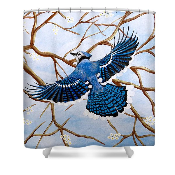 Soaring Blue Jay  Shower Curtain
