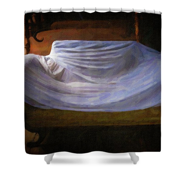 Shower Curtain featuring the photograph Sofa In Barn by Tom Singleton